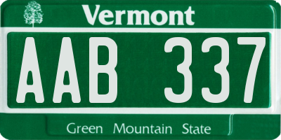 VT license plate AAB337