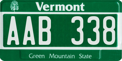 VT license plate AAB338
