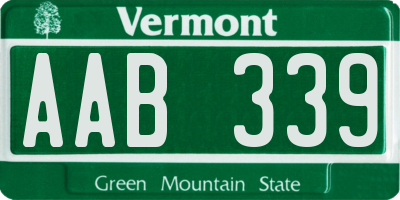 VT license plate AAB339