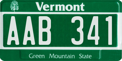 VT license plate AAB341