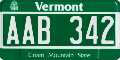 VT license plate AAB342