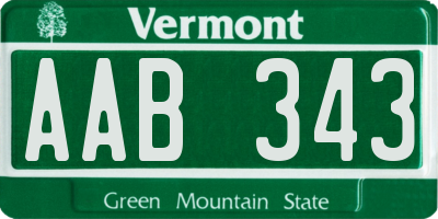 VT license plate AAB343