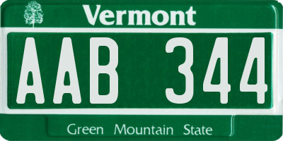 VT license plate AAB344