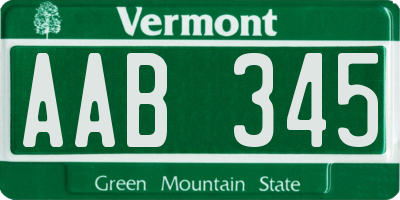 VT license plate AAB345