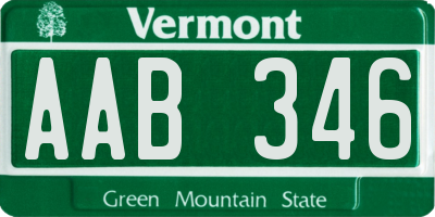 VT license plate AAB346