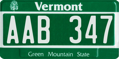 VT license plate AAB347