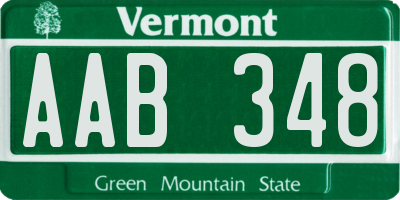 VT license plate AAB348
