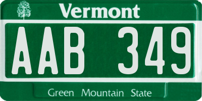 VT license plate AAB349