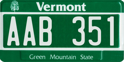 VT license plate AAB351