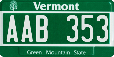 VT license plate AAB353
