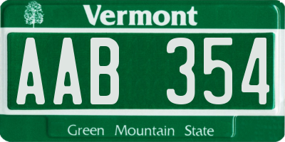 VT license plate AAB354