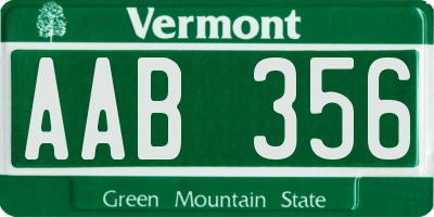VT license plate AAB356