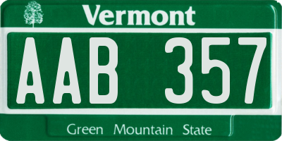 VT license plate AAB357