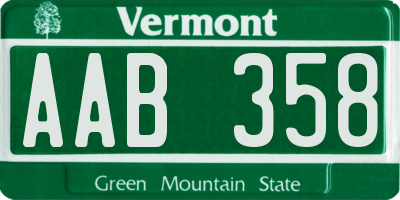 VT license plate AAB358