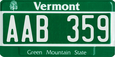 VT license plate AAB359