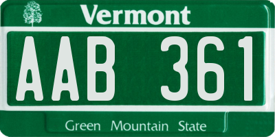 VT license plate AAB361