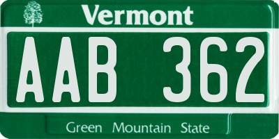 VT license plate AAB362