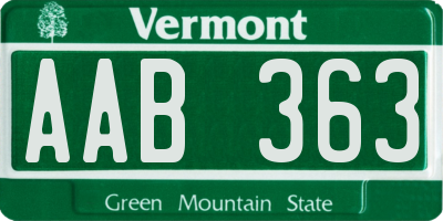 VT license plate AAB363