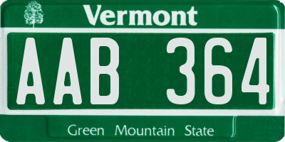 VT license plate AAB364