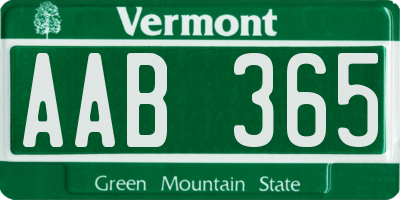 VT license plate AAB365