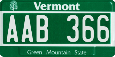 VT license plate AAB366