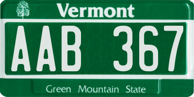 VT license plate AAB367
