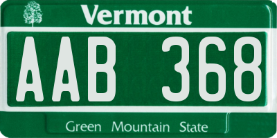 VT license plate AAB368