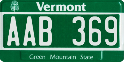 VT license plate AAB369
