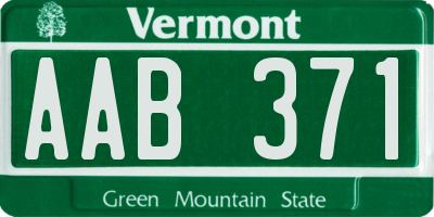 VT license plate AAB371