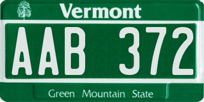VT license plate AAB372