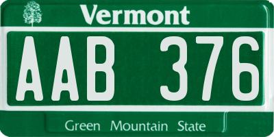VT license plate AAB376