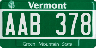 VT license plate AAB378
