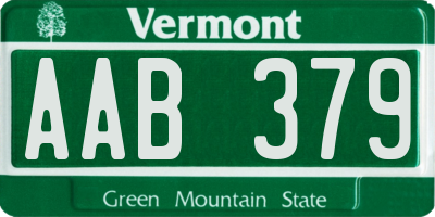 VT license plate AAB379