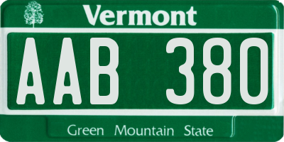 VT license plate AAB380