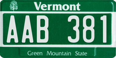 VT license plate AAB381