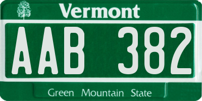 VT license plate AAB382