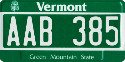 VT license plate AAB385