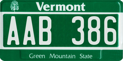 VT license plate AAB386