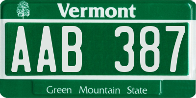 VT license plate AAB387