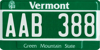 VT license plate AAB388
