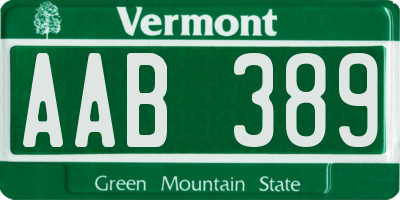 VT license plate AAB389