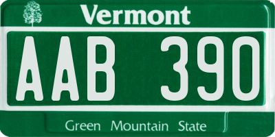 VT license plate AAB390