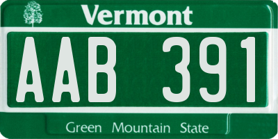 VT license plate AAB391