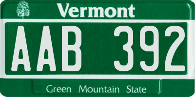 VT license plate AAB392