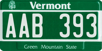 VT license plate AAB393