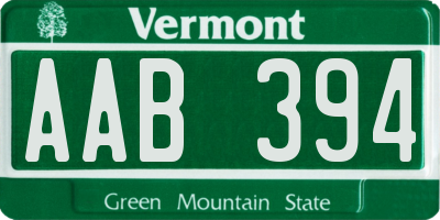 VT license plate AAB394