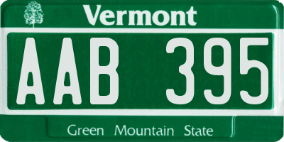 VT license plate AAB395