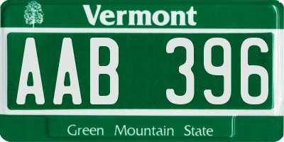 VT license plate AAB396