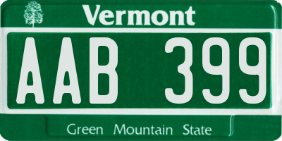 VT license plate AAB399
