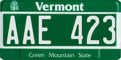VT license plate AAE423